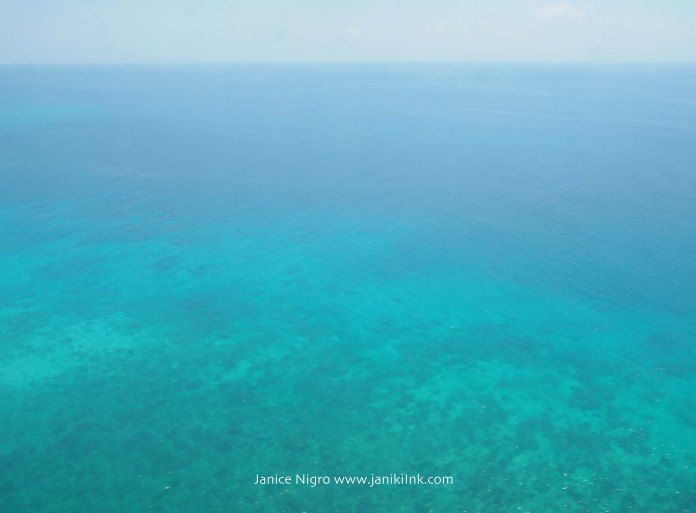 Flying over reefs in Indonesia