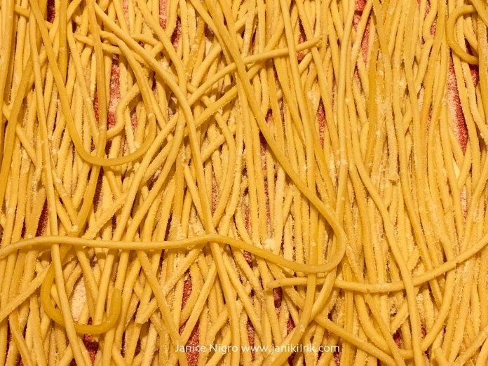 Freshly made spaghetti